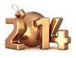 New Year 2014 bauble Christmas ball Merry Xmas gold decoration