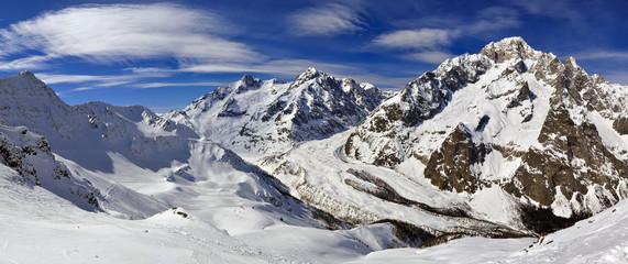 Panorama of Mont Blanc de Courmayeur from Cresta Youla