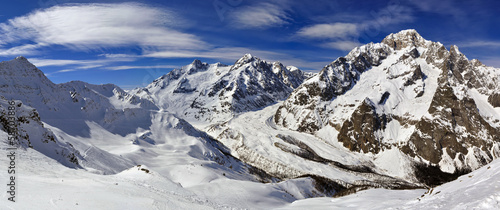 Panorama of Mont Blanc de Courmayeur from Cresta Youla
