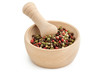mortar and pestle with peppercorn mix