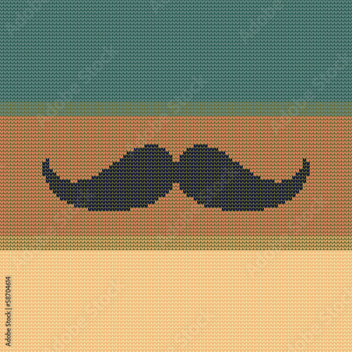 Hipster trend: vintage knitted moustache on striped color