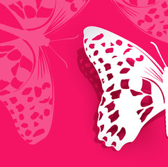 vector pink background with a paper butterfly