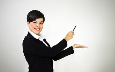 Woman presenting over retro vignette background