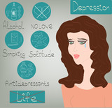 Woman Depression mental health concept icons set vector
