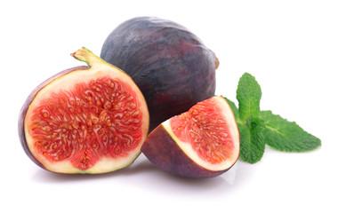 Fruit ripe figs on white.