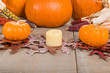 Fall decorative display with pumkins