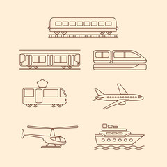 Transportation icons of tram, subway, train, airplane,