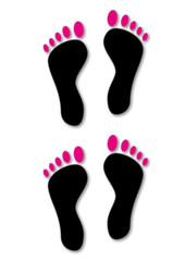 Fuß-Abdruck weiblich, footprint female
