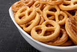 pretzels in a white bowl