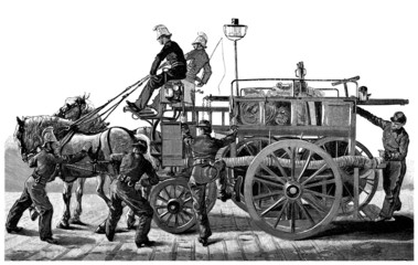 Fire Car & Fire Men - Pompiers - 19th century