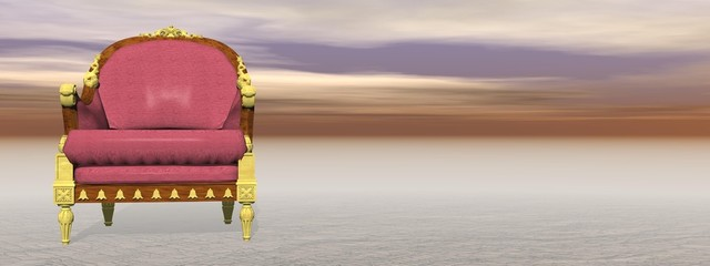 Royal armchair in nature - 3D render