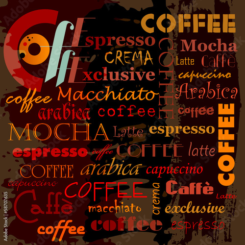 abstract coffee background, with word/letter, design template, g - 58707635