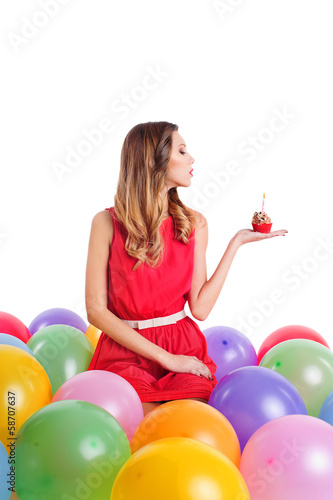 Young woman  on birthday party