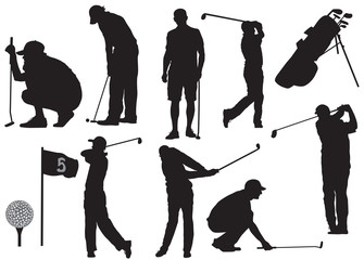 Vector golf players silhouette