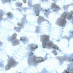 Ein Haufen leuchtende Energiesparlampen