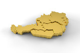 Austria map 3D gold with states stepwise and clipping path