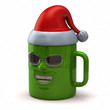 Fun green mug with Santa Claus hat