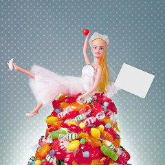 Generic Doll Bride and Candy Pile