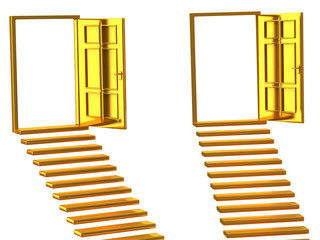 Concept of choice.Golden stairs and open doors.