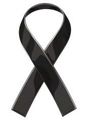 Black ribbon isolated on white background