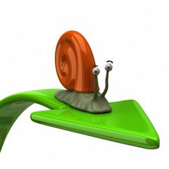 Orange snail on green arrow