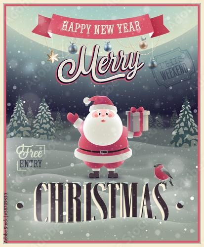 Christmas Poster with Santa. Vector illustration.