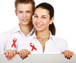 Couple using red for AIDS, holding blank