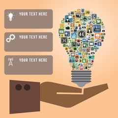 Infographics of light bulb with Social media icons in hand