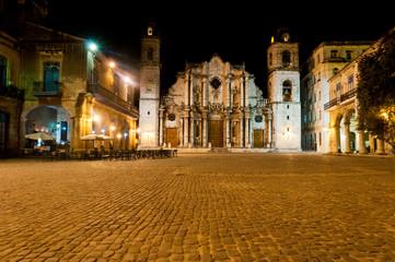 Catedral de San Cristóbal at Night. Old Havana (Cuba)