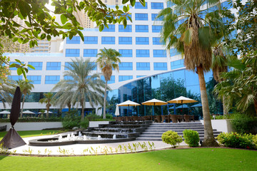The fountains near outdoor terrace of luxury hotel, Dubai, UAE