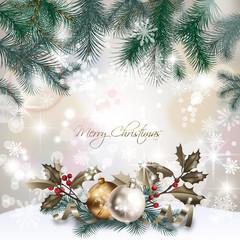 Carte de Noël : branches de sapin, boules, houx, bokeh