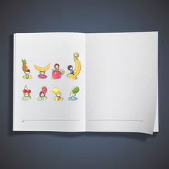 Kids holding fruits printed on book.