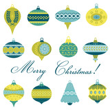 Set of Vintage Christmas Tree Balls - for design and scrapbook