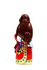 Schokoladenweihnachtsmann mit Folie in Zartbitter