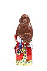 Schokoladenweihnachtsmann mit Folie aus Vollmilchschokolade