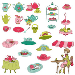 English Tea Party Set - for design, scrapbook, photo booth
