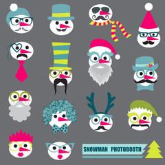 Photobooth Snowman Party set - Glasses, hats, lips, mustache, ma