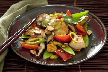 Classic cashew chicken with vegetables.