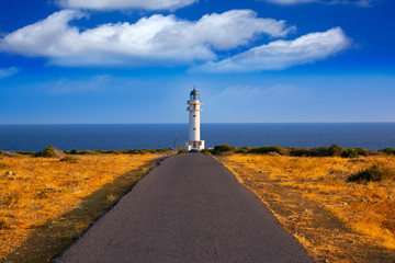 Barbaria cape Lighthouse in Formentera Balearic islands