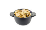 Pumpkin Seeds in a Black Cup