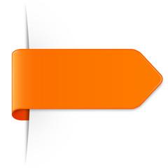 Orangener langer Sticker Pfeil mit Schatten und Textfreiraum