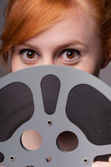 Woman film movie film reel - festival concept