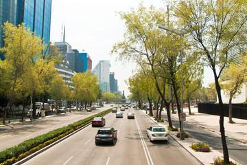 Paseo de la Reforma, the main avenue in Mexico City, Mexico.
