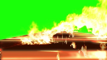 3d text in the line of fire  with fire with a green background