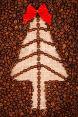 Symbol of Christmas tree on burlap