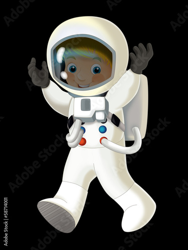 Cartoon cosmonaut - illustation for the children