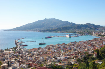View on the capital of Zakynthos, a famous Greek island