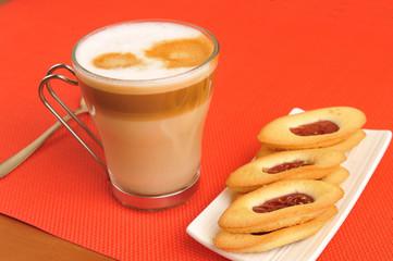 latte macchiato and strawberry cookies