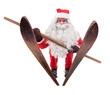 Santa Claus jumps on skis