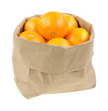 Paper bag filled with small oranges